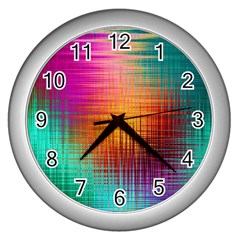Colourful Weave Background Wall Clocks (silver)  by Simbadda