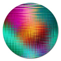 Colourful Weave Background Magnet 5  (round) by Simbadda