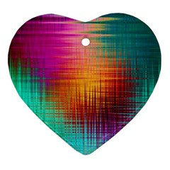 Colourful Weave Background Heart Ornament (two Sides) by Simbadda