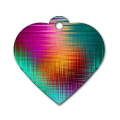 Colourful Weave Background Dog Tag Heart (one Side)