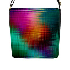 Colourful Weave Background Flap Messenger Bag (l)  by Simbadda