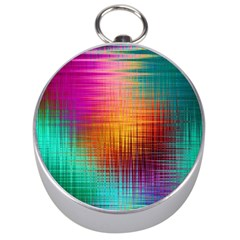 Colourful Weave Background Silver Compasses by Simbadda