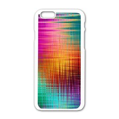 Colourful Weave Background Apple Iphone 6/6s White Enamel Case by Simbadda