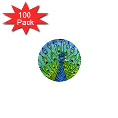 Peacock Bird Animation 1  Mini Magnets (100 Pack)