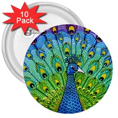 Peacock Bird Animation 3  Buttons (10 Pack)  by Simbadda
