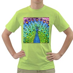 Peacock Bird Animation Green T Shirt by Simbadda