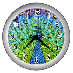 Peacock Bird Animation Wall Clocks (silver)