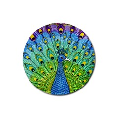 Peacock Bird Animation Rubber Coaster (round)  by Simbadda