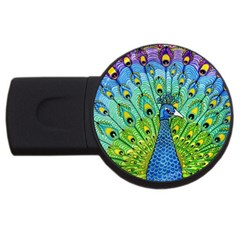 Peacock Bird Animation Usb Flash Drive Round (2 Gb)
