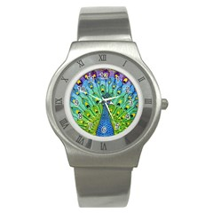 Peacock Bird Animation Stainless Steel Watch