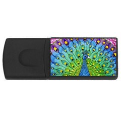 Peacock Bird Animation Usb Flash Drive Rectangular (4 Gb) by Simbadda
