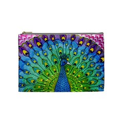 Peacock Bird Animation Cosmetic Bag (medium)  by Simbadda