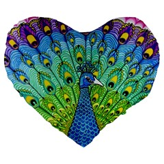 Peacock Bird Animation Large 19  Premium Heart Shape Cushions by Simbadda