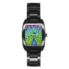Peacock Bird Animation Stainless Steel Barrel Watch by Simbadda