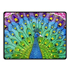 Peacock Bird Animation Double Sided Fleece Blanket (small)  by Simbadda