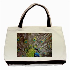 Peacock Bird Feathers Basic Tote Bag by Simbadda