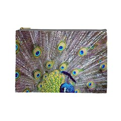 Peacock Bird Feathers Cosmetic Bag (large)  by Simbadda
