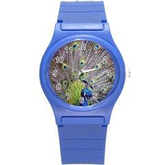 Peacock Bird Feathers Round Plastic Sport Watch (s) by Simbadda