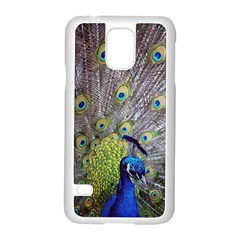Peacock Bird Feathers Samsung Galaxy S5 Case (white) by Simbadda