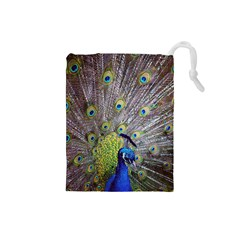 Peacock Bird Feathers Drawstring Pouches (small)  by Simbadda