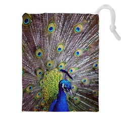 Peacock Bird Feathers Drawstring Pouches (xxl) by Simbadda