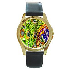 Peacock Feathers Round Gold Metal Watch by Simbadda