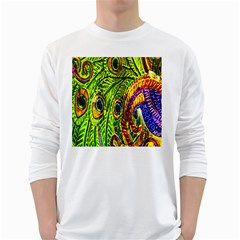 Peacock Feathers White Long Sleeve T Shirts by Simbadda