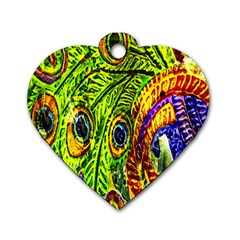 Peacock Feathers Dog Tag Heart (one Side) by Simbadda