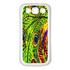 Peacock Feathers Samsung Galaxy S3 Back Case (white) by Simbadda