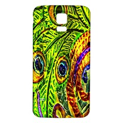 Peacock Feathers Samsung Galaxy S5 Back Case (white) by Simbadda