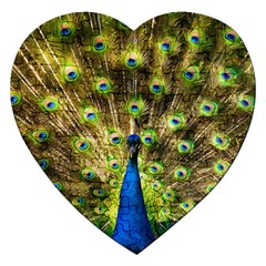 Peacock Bird Jigsaw Puzzle (heart) by Simbadda