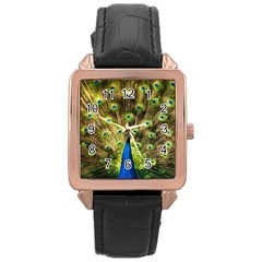 Peacock Bird Rose Gold Leather Watch