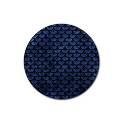 Scales3 Black Marble & Blue Stone (r) Rubber Coaster (round)
