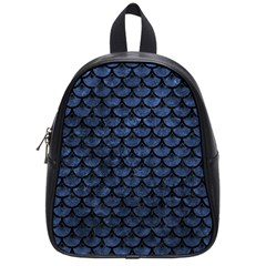 Scales3 Black Marble & Blue Stone (r) School Bag (small) by trendistuff