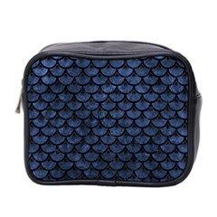 Scales3 Black Marble & Blue Stone (r) Mini Toiletries Bag (two Sides) by trendistuff