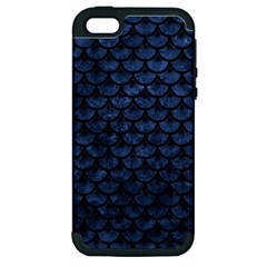 Scales3 Black Marble & Blue Stone (r) Apple Iphone 5 Hardshell Case (pc+silicone) by trendistuff