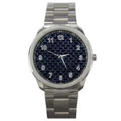 Scales3 Black Marble & Blue Stone Sport Metal Watch by trendistuff