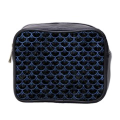 Scales3 Black Marble & Blue Stone Mini Toiletries Bag (two Sides) by trendistuff