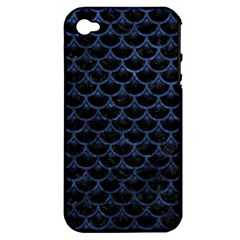 Scales3 Black Marble & Blue Stone Apple Iphone 4/4s Hardshell Case (pc+silicone) by trendistuff