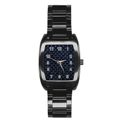 Scales3 Black Marble & Blue Stone Stainless Steel Barrel Watch by trendistuff