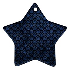 Scales2 Black Marble & Blue Stone (r) Ornament (star) by trendistuff