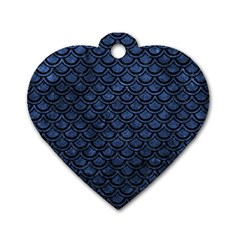 Scales2 Black Marble & Blue Stone (r) Dog Tag Heart (one Side) by trendistuff