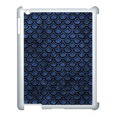 Scales2 Black Marble & Blue Stone (r) Apple Ipad 3/4 Case (white) by trendistuff