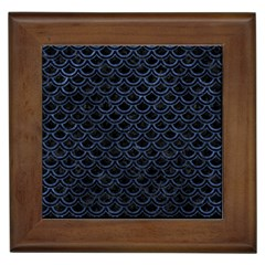 Scales2 Black Marble & Blue Stone Framed Tile by trendistuff