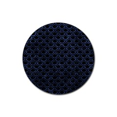 Scales2 Black Marble & Blue Stone Rubber Coaster (round)