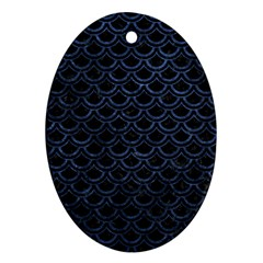 Scales2 Black Marble & Blue Stone Oval Ornament (two Sides) by trendistuff