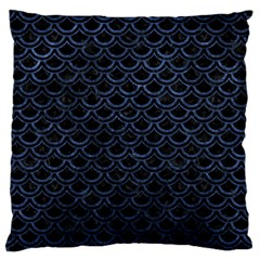 Scales2 Black Marble & Blue Stone Large Flano Cushion Case (one Side) by trendistuff