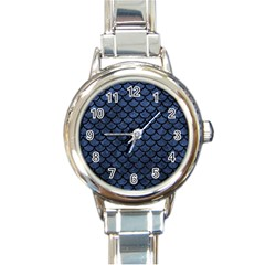 Scales1 Black Marble & Blue Stone (r) Round Italian Charm Watch by trendistuff