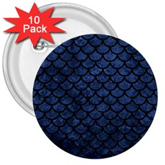 Scales1 Black Marble & Blue Stone (r) 3  Button (10 Pack) by trendistuff