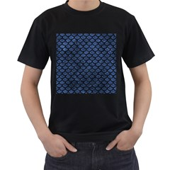 Scales1 Black Marble & Blue Stone (r) Men s T Shirt (black) (two Sided) by trendistuff